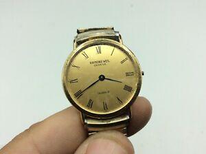 Fantastic Vintage 18k Rolled Gold Plate Raymond Weil GENEVE Quartz Wristwatch