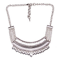 SILVER AZTEC INSPIRED PLATE FRONTED ADJUSTABLE NECKLACE WITH METAL TASSELS (NS2)