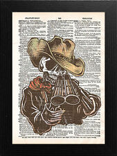 DICTIONARY PAGE ART STYLE PRINT , DAY OF THE DEAD shot gun halloween mexican