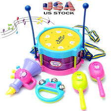 5pcs Kids Baby Roll Drum Musical Instruments Band Kit Children Toy Gift US Stock