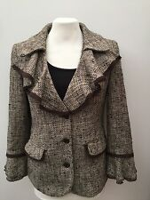 Per Una - Brown Black Cream Fluted Neck And Cuff Cropped Jacket - Size 12 - NEW