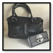 Mimco LARGE TURNLOCK ZIPTOP Leather Hand Bag BNWT PLUS MATCHING WALLET
