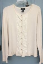 Peck and Peck Women's Long Sleeve Ivory Cardigan with Lace flowers Size Large