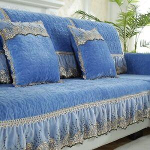 Winter Plush Sofa Cover Cushion Thick Non-slip Combination Cover Lace L Shape