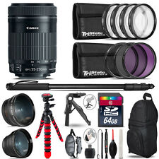 Canon 55-250mm IS STM - 3 Lens Kit + Tripod + Backpack - 64GB Accessory Bundle
