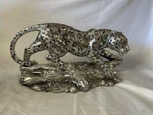 """Modern Silver Leopard Panther Cheetah Large Art Sculpture Statue Home Decor 13"""""""