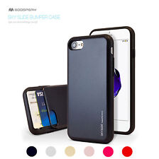 For iPhone X/8/7/6S/Plus Mercury Hybrid Bumper Card Slide Hard Rubber Case Cover