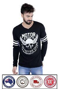 V Neck Long Sleeve Printed Cotton T-Shirt - Motor