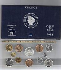 FRANCE coffret FDC fleur de coin 1983 série des monnaie francaises 1983