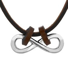 Rhodium Plated Stainless Steel, Saddle Brown Leather Horizontal Infinity Pendant