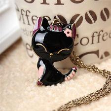Retro Jewelry Black Drip Paint Smile Cat Pendant Necklace Long Necklace_QA
