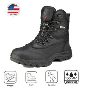 Men's Winter Insulated Snow Boots Waterproof Construction lace up Rubber Sole