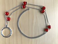 Red Beads Eyeglasses Lanyard - Stainless Steel Rollo Chain Eyeglass Necklace