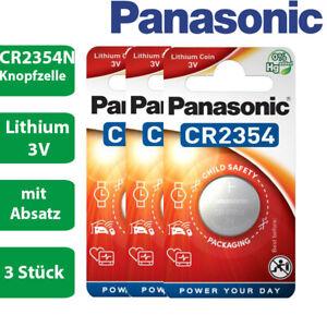 3 x Panasonic CR2354N CR 2354 N mit Absatz Lithium 3 V Batterie Blister 560mAh
