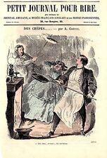 GRAVURE SUR BOIS AQUARELLEE DE A. GREVIN  19ème LES CREPES