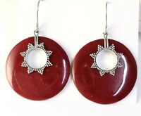 Sterling Silver 925 Round Shaped Sponge Coral Dangle Earrings On Hook
