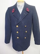 """Vintage FRENCH NAVY PEA COAT Naval Clothing Wool  38"""" R Euro 48 R - Blue"""