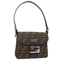 FENDI Zucca Pattern Mamma Baguette Hand Bag Purse Brown Canvas Leather 35406