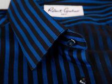 Robert Graham Navy Blue Herringbone Stripe Shirt 17 13064