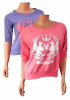 BNWT Varsity Ladies College State Sweatshirt UK Size 8 10 12 14 16 Coral/Purple