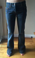 Dolce & Gabbana Women's Jeans DG Logo Wide Leg Boot Cut Denim Dark Blue Size 26