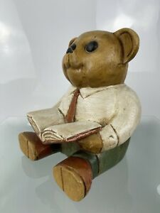 """7"""" Carved Painted Wood Wooden Sitting Teddy Bear Reading Book Ornament Figurine"""