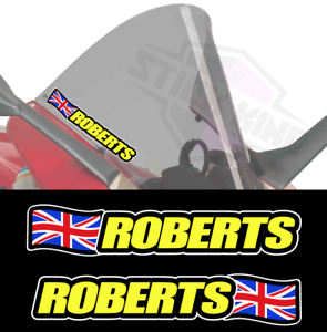 2 X Personalised Rider Name Screen Stickers - Race Motorcycles UNION JACK Flag