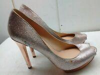 BCBGMAXAZRIA Silver Glitter Fabric Hi Heel Pump Peep Toe Women's Shoes 9.5M 40,5