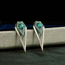 Tsavorites With Oval Emerald Long 'V' Shape Or Without Turning Stud Type Earring