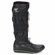 SOREL FIRENZY BLACK TALL LEATHER ADJUSTABLE LACE BOOTS 6 waterproof Excellent