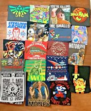 Lot of 19 Graphic T Shirts Long Sleeve Novelty Nintendo Rap Wholesale Tee Large