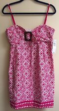NWT Signature London Style Fuchsia & White Sweetheart Dress sz 12 MSRP $50.00