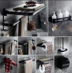 Black Bath Accessory Set Toothbrush Holder Soap Dish Towel Bar Coat Hooks Caddy