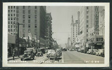 CA Hollywood RPPC 40's DOWNTOWN STREET SCENE Cars STORES by VI Playford No. C 84