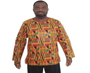 Unisex Long Sleeve New free style Kente African Print  Type#2 Shirt/Blouse