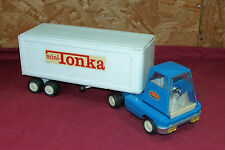 Vintage Mini Tonka Semi Tractor Truck Trailer Old Pressed Metal Tin Steel US Toy