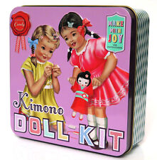 Vintage Antique Style Kimono Doll Sewing Kit Tinplate Box Retro Toy Wu & Wu