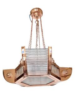 VINTAGE ART DECO COPPER HANGING SHIP GLASS ROD CEILING 6 LIGHT CHANDELIER LAMP