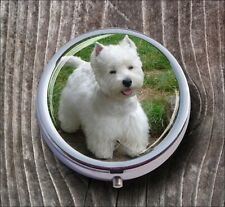 DOG WHITE WESTIE BREED #2 PILL BOX ROUND METAL -huf5Z