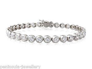 "Sterling Silver Tennis Bracelet Ladies 7.5"" Gift Boxed Hallmarked 11.5g"