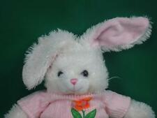CALTOY WHITE EASTER BUNNY RABBIT PINK SPRING SWEATER DAISY FLOWER PLUSH STUFFED