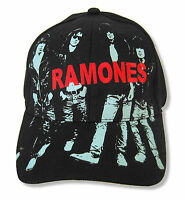 "RAMONES ""ALBUM ART"" BAND IMAGE BLACK BASEBALL CAP HAT NEW OFFICIAL OSFM FITTED"