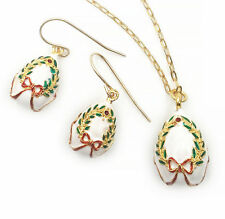 "Christmas Enameled Egg Set - Pendant and Earrings Inspired by the ""Fabergé"" egg"