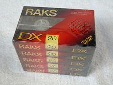 5 x & Nuovo di Zecca Sigillata Raks DX90 FERRO 90 min tipo i Nastri Audio Cassette