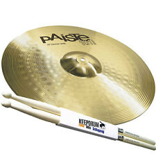 "PAISTE 101 Brass 18"" Crash Ride Becken + Keepdrum 5A Drumsticks"