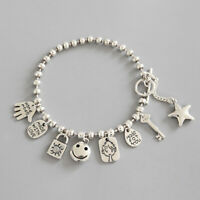 NEW Retro Genuine Solid s925 Sterling Silver Bead Chain Bracelets Cute Elements