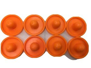 Tinker Toy 8 Orange End Caps Plastic Tinkertoys Replacement Pieces