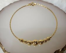 Genuine 18k Solid Gold Soft Bangle with 7 Balls Charms18cm