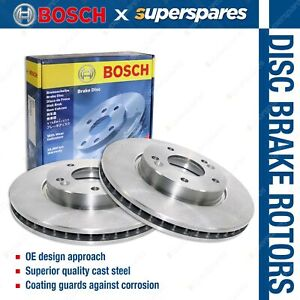 2 x Bosch Front Disc Brake Rotors for Nissan Micra K12 Cube Cubic Z11 I4 16v