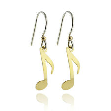 Music Note Earrings - 925 Sterling Silver Ear Wire - Gold Tone Jewelry Musical